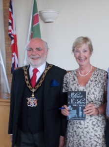 Margaret Smith with the Mayor of Gedling, Bob Collis, at the Gedling Book Festival Presentation